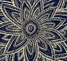 Cute Retro Gold abstract Flower Drawing on Black by GirlyTrend