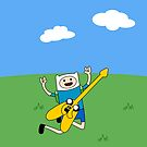 Finn the human with jake the dog as a guitar! by jscib