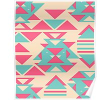 Modern Pink Turquoise Abstract Geometric Triangles Poster