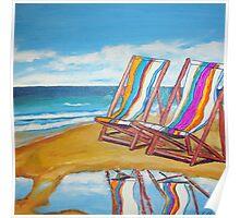 Beach Chair Reflection Poster