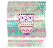 Whimsical Tribal Owl Pastel Girly Tie Dye Aztec Poster