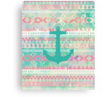 Emerald Nautical Anchor Pastel Watercolor Aztec Canvas Print