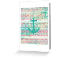 Emerald Nautical Anchor Pastel Watercolor Aztec Greeting Card