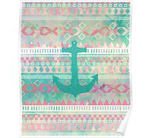 Emerald Nautical Anchor Pastel Watercolor Aztec Poster