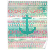 Emerald Nautical Anchor Pastel Watercolor Aztec Poster