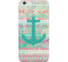 Emerald Nautical Anchor Pastel Watercolor Aztec iPhone Case/Skin