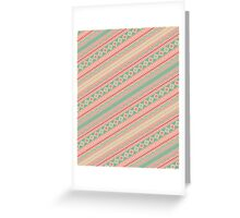 Retro Turquoise Pink Abstract Andes Aztec Pattern Greeting Card