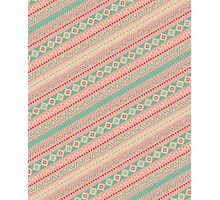 Retro Turquoise Pink Abstract Andes Aztec Pattern Photographic Print