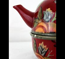 Vintage Ceramic Maroon Teapot With Flower Pattern  by © Sophie W. Smith