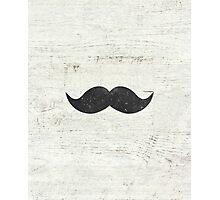 Vintage Funny Mustache White Retro Wood Photographic Print