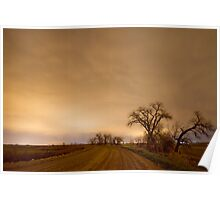 Country Dirt Road Into The Storm Poster