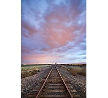 Railroad Tracks Into the Sunset Photographic Print