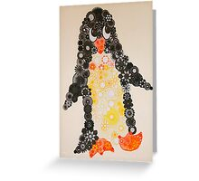 Spirograph Penguin in black, yellow and orange Greeting Card