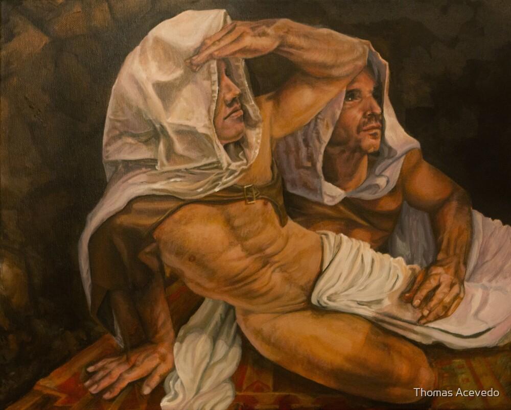 "allegory of the cave . ""curiosity""  14x18 acrylic  by Thomas Acevedo"