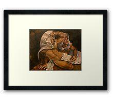 "allegory of the cave . ""curiosity""  14x18 acrylic  Framed Print"