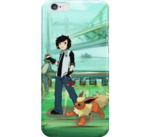 Flareon and trainer iPhone Case/Skin