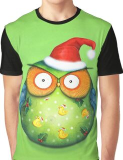 Funny Santa Owl Graphic T-Shirt