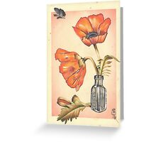 loose poppies in poison jar Greeting Card