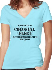 Colonial Fleet Battlestar Galactica Rec. Room Women's Fitted V-Neck T-Shirt