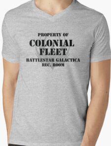 Colonial Fleet Battlestar Galactica Rec. Room Mens V-Neck T-Shirt