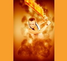young punk teen girl wielding a flaming sword  Unisex T-Shirt