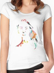 Face T-shirt - colourful Women's Fitted Scoop T-Shirt