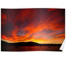 sunset, eastcoast style. bicheno, tasmania Poster