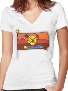 Gravity Falls: Take Back The Falls Women's Fitted V-Neck T-Shirt