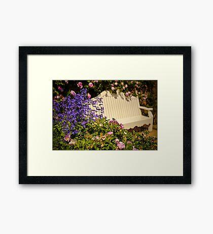 English Garden Seat Framed Print
