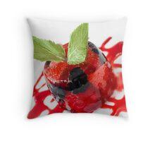 Summer Berries in Jelly Dessert Throw Pillow