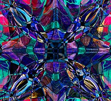 blue stained glass fractal pattern by Pixie Copley LRPS