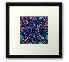 blue stained glass fractal pattern Framed Print