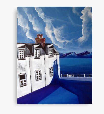 Fishermans cottages & Loch Broom Ullapool,Scotland Canvas Print