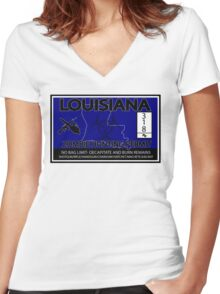 Louisiana Zombie Hunting License Women's Fitted V-Neck T-Shirt