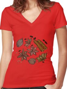 Hand drawn colored spices sketch set Women's Fitted V-Neck T-Shirt