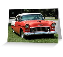 1955 Chevy Bel Air with Dry Brush Effect Greeting Card