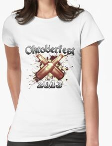 Oktoberfest Beer Bottles 2013 Womens Fitted T-Shirt