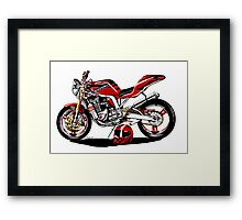 Caricature Streetfighter Motorcycle Art Framed Print