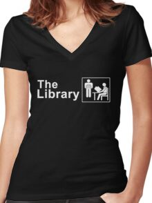 The Library Logo in White Women's Fitted V-Neck T-Shirt