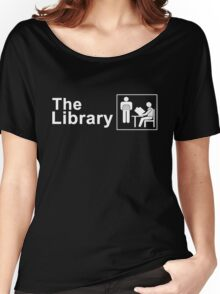 The Library Logo in White Women's Relaxed Fit T-Shirt