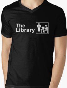 The Library Logo in White Mens V-Neck T-Shirt