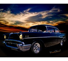 57 Belair Two-Door Sedan is Oh So Black Photographic Print