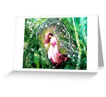 Girl running through the woods. Greeting Card