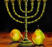 Menorah and Pears by Phyllis Beiser