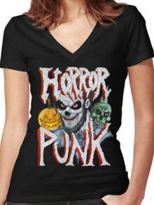 Horror Punk Women's Fitted V-Neck T-Shirt