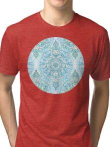 Turquoise Blue, Teal & White Protea Doodle Pattern Tri-blend T-Shirt