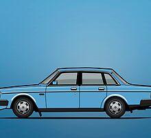 Volvo Brick 244 240 Sedan Brick Blue by Tom Mayer