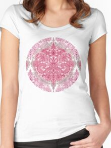 Happy Place Doodle in Berry Pink, Cream & Mauve Women's Fitted Scoop T-Shirt