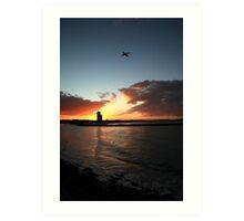 Currumbin Sunset With Jet Liner Art Print