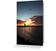 Currumbin Sunset With Jet Liner Greeting Card